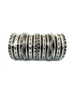 Bracelets bangles perlé noir et argenté GF  - 1