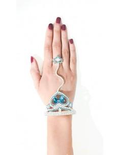 Bijoux de main Argenté & Bleu Turquoise  - 3