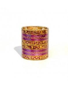Bangles bracelets enfant doré mauve  - 1