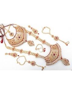 Parure Bijoux collier indien 8 pièces ANITA doré et rouge  - 1