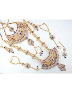 Parure bijoux indiens mariage 8 pièces ANITA doré et bleu  - 1
