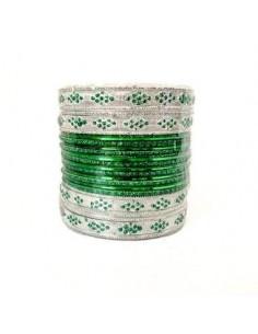 Bracelets indien vert et argenté  - 1