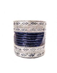 Bangle bracelet indien bleu marine et argenté  - 1