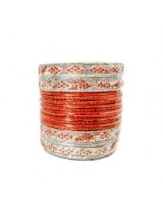 Bracelets indien bangles argenté et orange  - 1