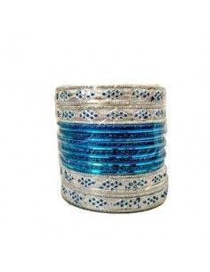 Bracelets indien Bleu et argenté  - 1