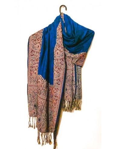 pashmina Echarpe indienne Bleu