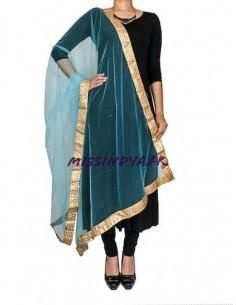 Chale indienne etole foulard Bleu ciel et doré  - 1