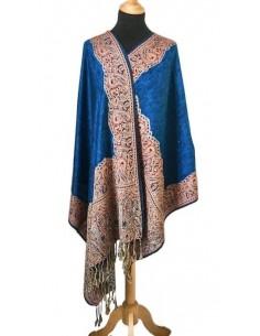 pashmina Echarpe indienne Bleu  - 2