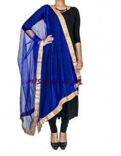 Chale indienne Dupatta Bleu royal et doré  - 1