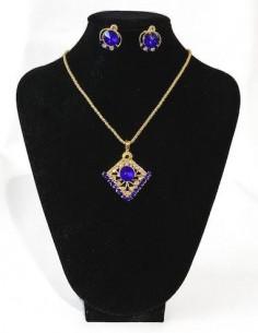 Pendentif doré et Bleu royal  - 1