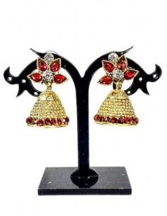 Boucles d'oreilles jhumka doré rouge  - 1