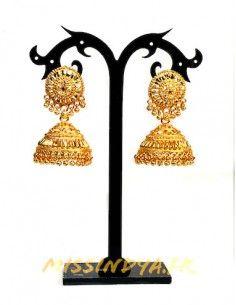 Jhumka Boucles d'oreilles indienne ethnique dore MARS191  - 1