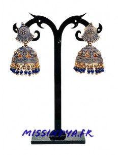 Jhumka Boucles d'oreilles indienne ethnique dore bleu  - 1