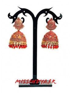 Jhumka Boucles d'oreilles indienne ethnique dore rouge  - 1