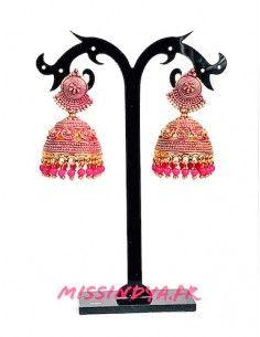 Jhumka Boucles d'oreilles indienne ethnique dore rose  - 1