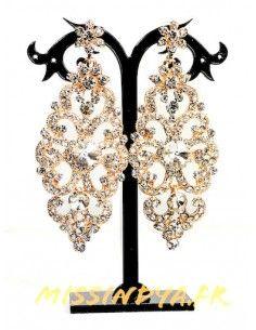 Boucles d'oreilles strass dore MAR192  - 1