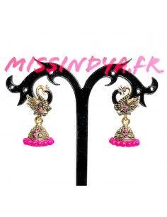 Boucles d'oreilles paon doré et rose  - 1