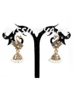 Boucles d'oreilles paon doré et blanc  - 1