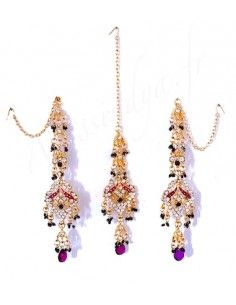 Set Bijoux indiens ethnique violet & Doré FarJ  - 2