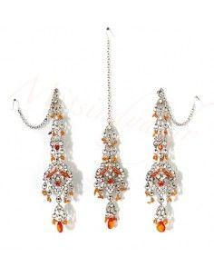 Set Bijoux indiens ethnique Argenté & orange FarJ  - 2