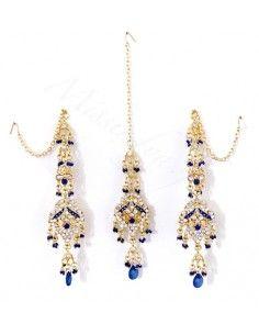 Set Bijoux indiens ethnique bleu royal & Doré FarJ  - 1