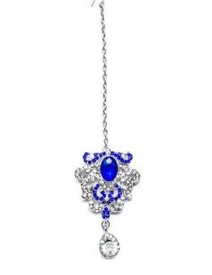 Maang Tikka (Bijoux de tête) argenté bleu  - 2