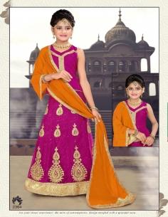 Lehenga choli sari fille Manas doré Rose  - 1