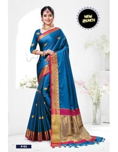 sari indien bleu