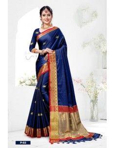 sari indien bleu marine