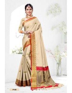 sari indien pas cher beige