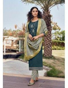 Robe indienne Salwar Kameez Churidar Mahal Gris vert  - 1