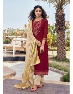 Robe indienne Salwar Kameez Churidar Mahal Rouge  - 1