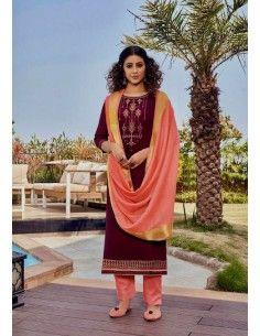 Robe indienne Salwar Kameez Churidar Mahal Prune  - 1