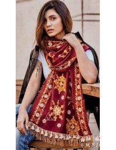 Khadi pashmina foulard indienne ethnique sagra rouge  - 1