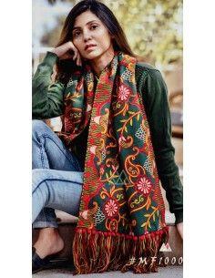 Khadi pashmina foulard indienne ethnique sagra vert  - 1