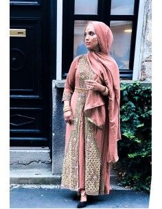 Robe indienne de Soirée Bois de rose  - 1