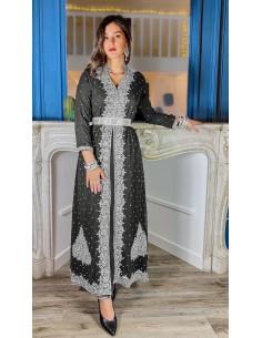 robe de soiree noir et argente