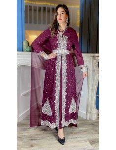 Robe indienne de Soirée Perlé strass argenté et prune  - 1