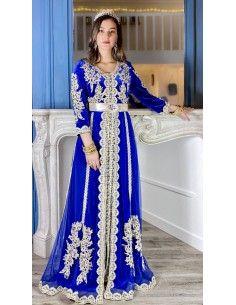 Caftan takchita oriental velours bleu royal  - 1