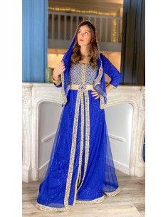 caftan takchita abaya djellaba bleu et dore