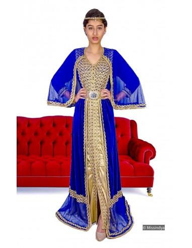 Caftan en velours (avec cape) bleu...