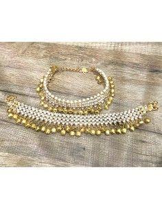 chaine de pied indien (Payal) doré et perles blanches  - 1