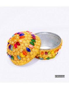 Boite bijoux perlé multi couleur  - 1