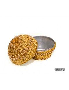 Boite bijoux perlé doré  - 1