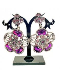 Boucles d'oreilles Deepa Doré & violet  - 1