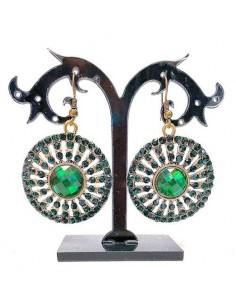 boucles d'oreilles ronde vert et doré  - 1