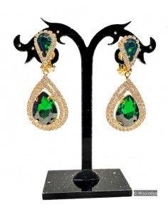 pendants d'oreilles à clips vert et dorée  - 1