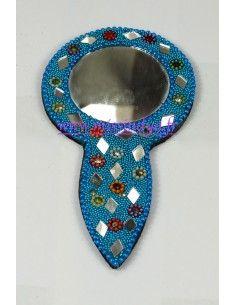 miroir pailleté bleu turquoise