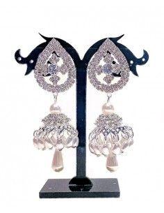 Boucles d'oreilles jhumka perles et argenté  - 1