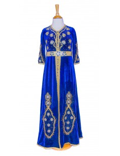 caftan velours bleu royal...